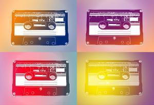 Audio Cassette Tapes Flash Pop Art Print Poster