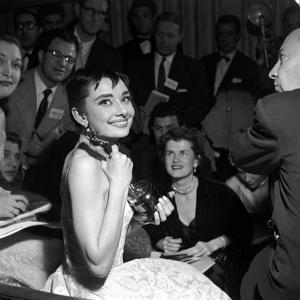 """Audrey Hepburn, 1953. 26th Annual Academy Awards, Best Actress for """"Roman Holiday"""""""