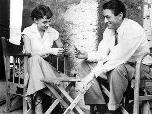 Audrey Hepburn and Gregory Peck Play CArds While on Location for Roman Holiday, 1953
