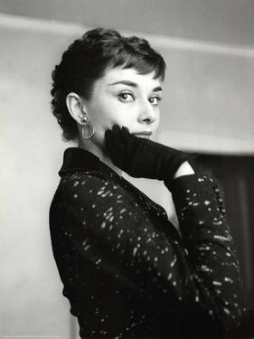 Audrey Hepburn Black Coat and Gloves