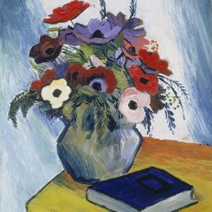 Still-Life with Anemones and Blue Book, 1911 by August Macke