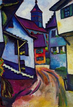 August Macke Street with a Church in Kandern Art Print Poster