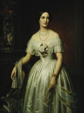 Portrait of a Lady Standing Three-Quarter Length Wearing a White Dress by August Schiott