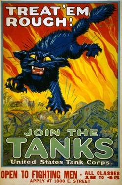 Treat 'Em Rough! Join the Tanks Poster by August William Hutaf