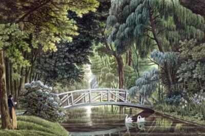Wooden Bridge on the River Near the Statue of Diane, Views of Malmaison, Engraved Garneray