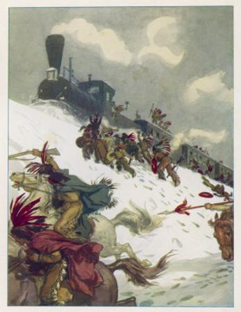 Le Tour du Monde En 80 Jours, The Travellers' Train is Attacked by Sioux by Auguste Leroux
