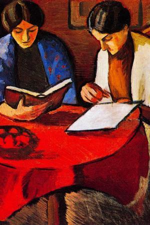 August Macke Two women at the Table Plastic Sign by Auguste Macke