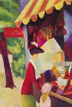 Before Hutladen (Woman with a Red Jacket and Child) by Auguste Macke