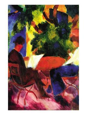 Couple At The Garden Table by Auguste Macke