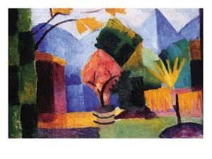 Garden On The Lake of Thun by Auguste Macke
