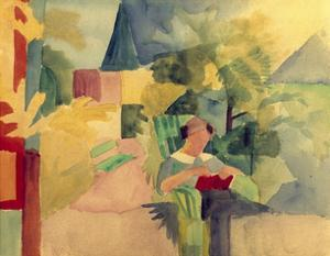 Garden with Woman Reading by Auguste Macke