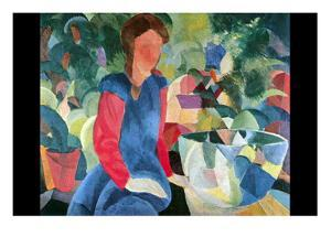 Girls with Fish Bell by Auguste Macke