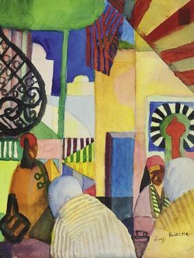 In the Bazaar, 1914 by Auguste Macke