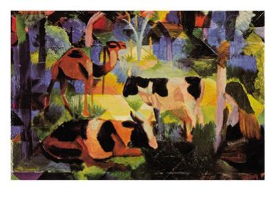 Landscape with Cows and Camels