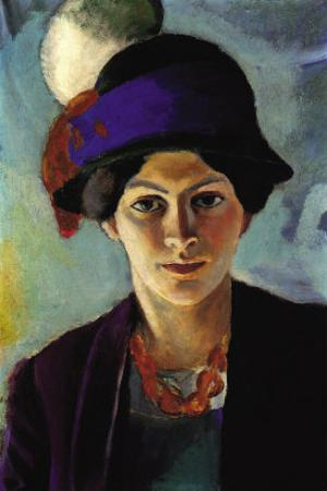 Portrait of The Wife of The Artist with a Hat by Auguste Macke