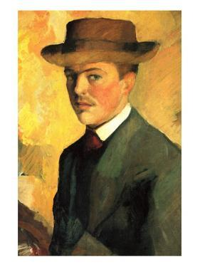Self-Portrait with Hat by Auguste Macke