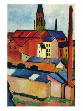 St. Mary's Church with Houses and Chimney by Auguste Macke