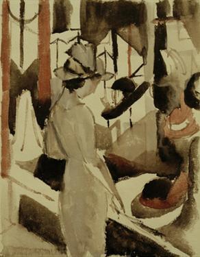 Woman in front of Hat Shop 1914 by Auguste Macke