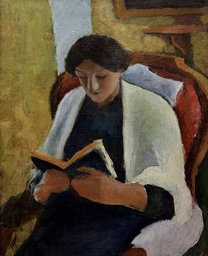Woman Reading in Red Armchair by Auguste Macke