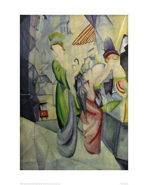 Women in front of hat shop by Auguste Macke