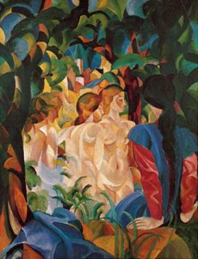 Women Taking a Bath with a Town on the Back by Auguste Macke
