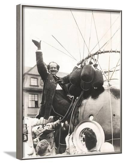 Auguste Piccard Waves as He Climbed into the Spherical Aluminum Capsule--Framed Photo
