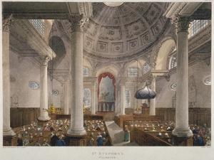 Interior of the Church of St Stephen Walbrook During a Service, City of London, 1809 by Augustus Charles Pugin