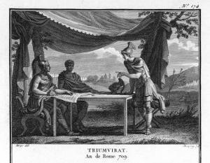 The Triumvirate, Marcus Antonius Octavius (Later Emperor Augustus) and Lepidus by Augustyn Mirys