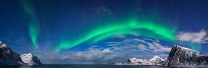 Aurora Borealis Above Flaget Bay, Lofoten, Nordland, Norway