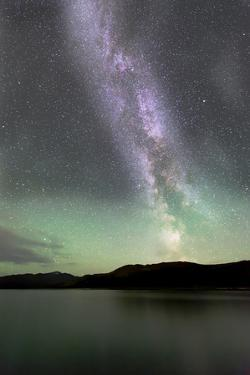 Aurora Borealis and Milky Way Above Fish Lake, Yukon, Canada