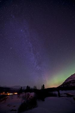 Aurora Borealis and Milky Way over Carcross, Yukon, Canada