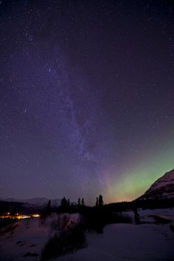 Aurora Borealis and Milky Way over Carcross, Yukon, Canada