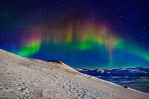 Aurora Borealis or Northern Lights in Full Color Seen from the Abisko Sky Station, Abisko