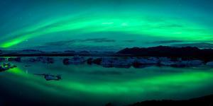 Aurora Borealis or Northern Lights over the Jokulsarlon Lagoon, Iceland