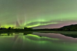 Aurora Borealis over Fish Lake, Whitehorse, Yukon, Canada
