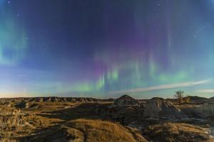 Aurora Borealis over the Badlands of Dinosaur Provincial Park, Canada