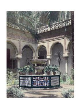 The Outdoor Garden Patio of a Moorish and Gothic Palace by Austin A. Breed