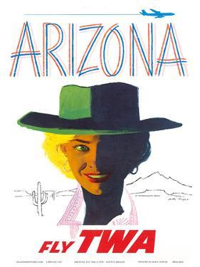 Arizona - Fly TWA (Trans World Airlines) - Cowgirl by Austin Briggs