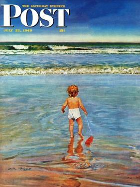 """Baby at the Beach,"" Saturday Evening Post Cover, July 23, 1949 by Austin Briggs"