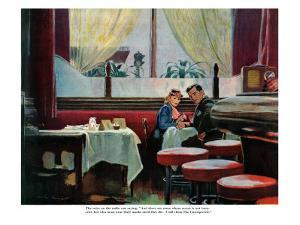 """The Unsuspected  - Saturday Evening Post """"Leading Ladies"""", August 11, 1945 pg.11 by Austin Briggs"""