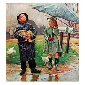 """""""Waiting for Bus in Rain,""""April 1, 1948 by Austin Briggs"""