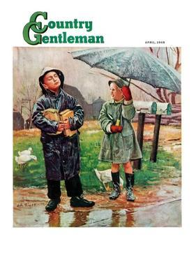 """""""Waiting for Bus in Rain,"""" Country Gentleman Cover, April 1, 1948 by Austin Briggs"""