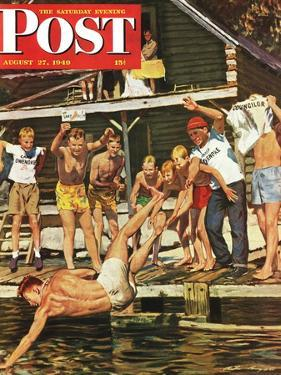"""""""Wet Camp Counselor,"""" Saturday Evening Post Cover, August 27, 1949 by Austin Briggs"""