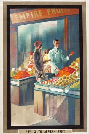 Buy South African Fruit, from the Series 'Empire Buying Makes Busy Factories', 1930