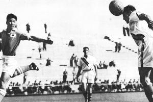 Australia and Japan Competing in the Soccer Finals at the 1956 Melbourne Olympics