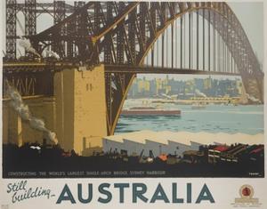 Australia, Constructing the Sydney Harbor Bridge Travel Poster