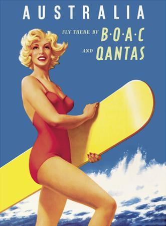 Australia - Fly there by BOAC (British Overseas Airways Corporation) and Qantas