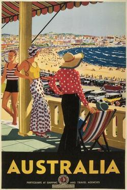 Australia Travel Poster, Beach