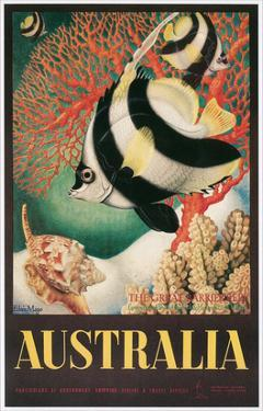 Australia Travel Poster, Great Barrier Reef