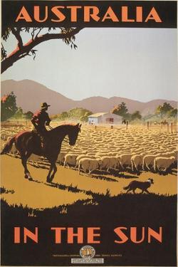 Australia Travel Poster, Sheep